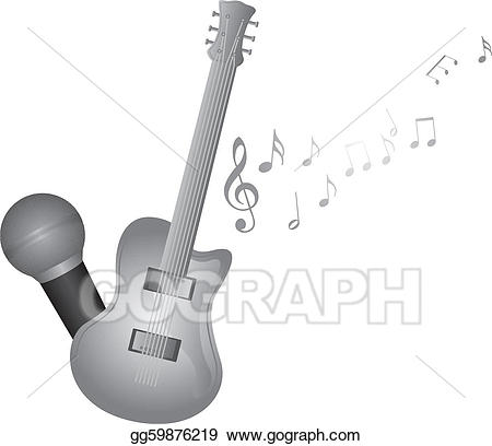 Vector stock and illustration. Clipart guitar microphone