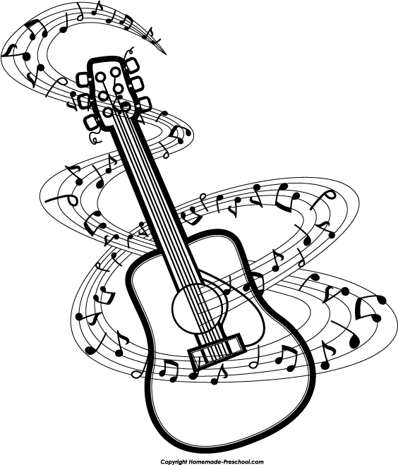 Clipart guitar music guitar. Notes clipartwiz digital design
