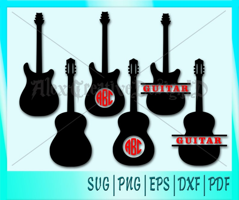 Clipart guitar name. Monogram svg png dxf