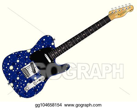 Clipart guitar old guitar. Vector art stary night
