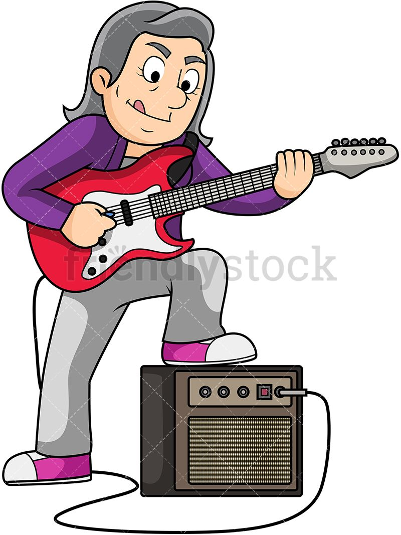 Clipart guitar old guitar. Woman playing electric art