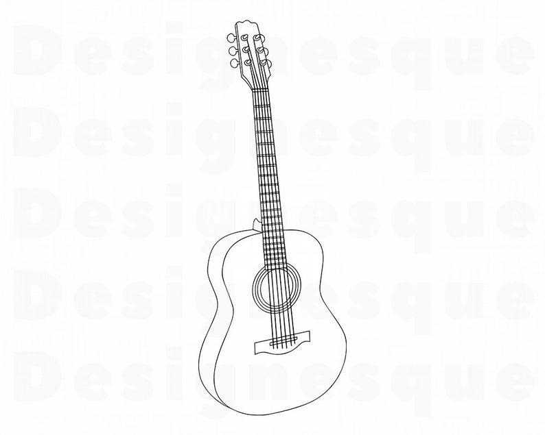 Svg files for cricut. Clipart guitar outline