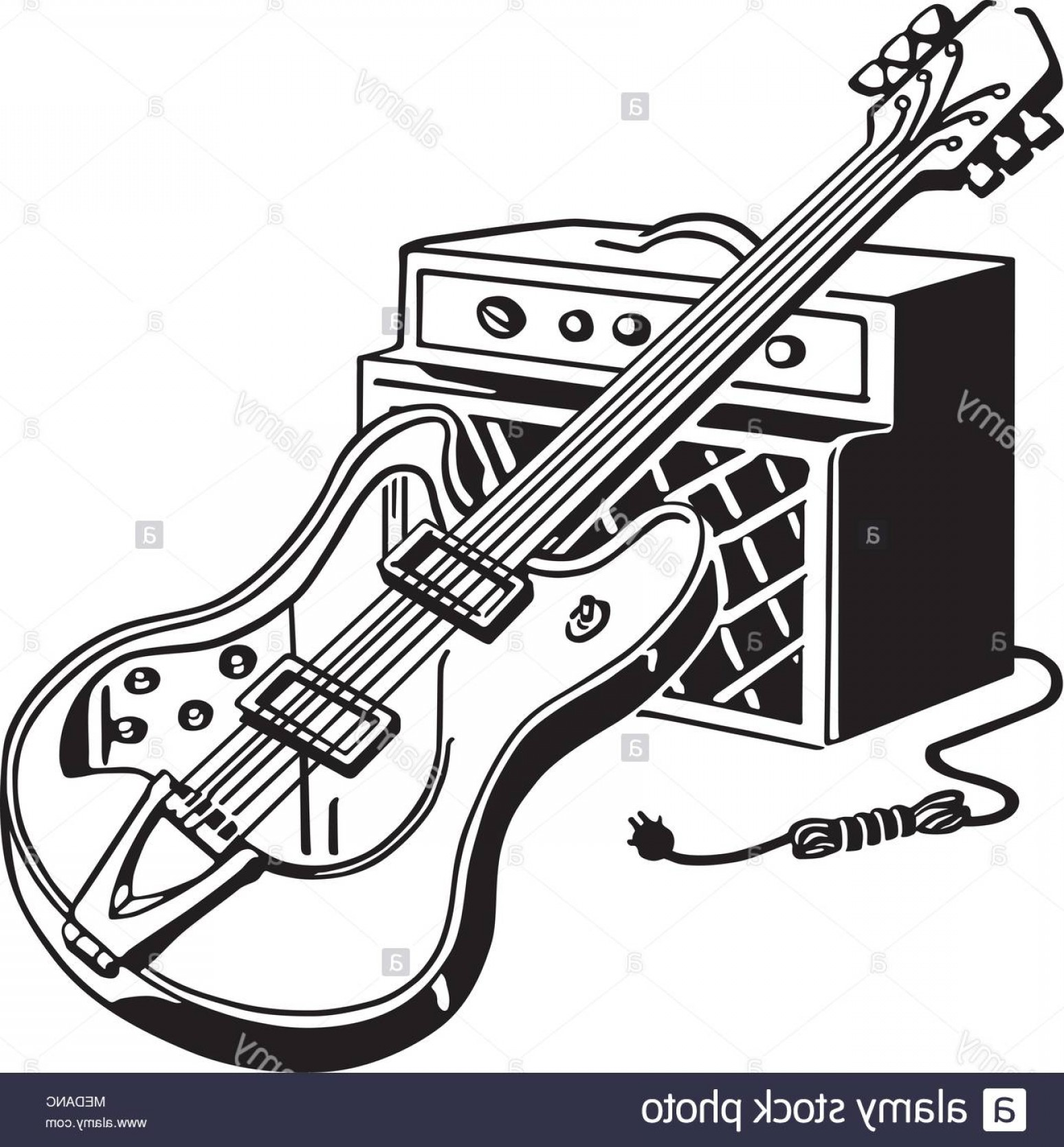 Clipart guitar retro. Electric and amplifier illustration