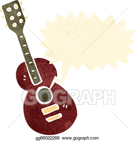 Clipart guitar retro. Eps vector cartoon stock