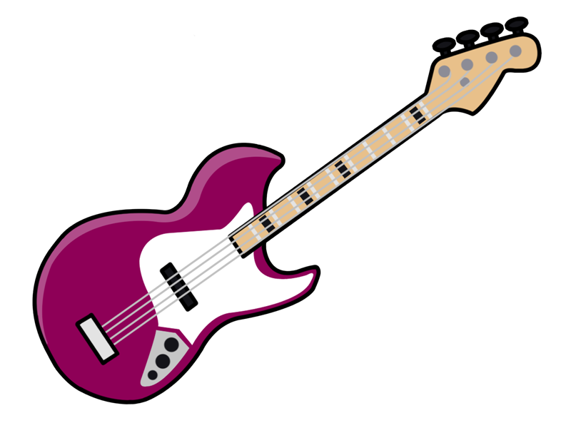 Cartoon guitar . Instruments clipart pink
