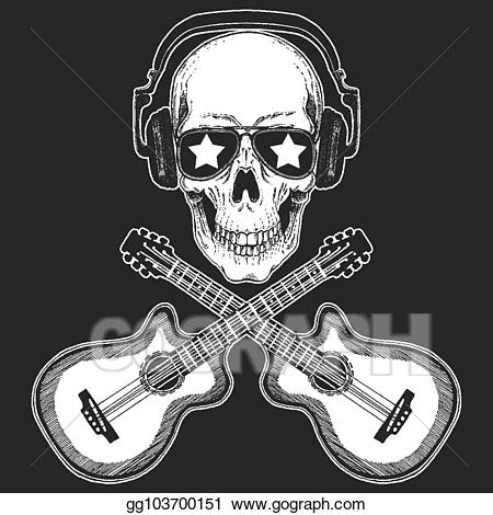 Clipart guitar skull. Vector rock music festival