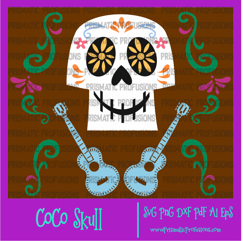 Clipart guitar skull. Coco and svg