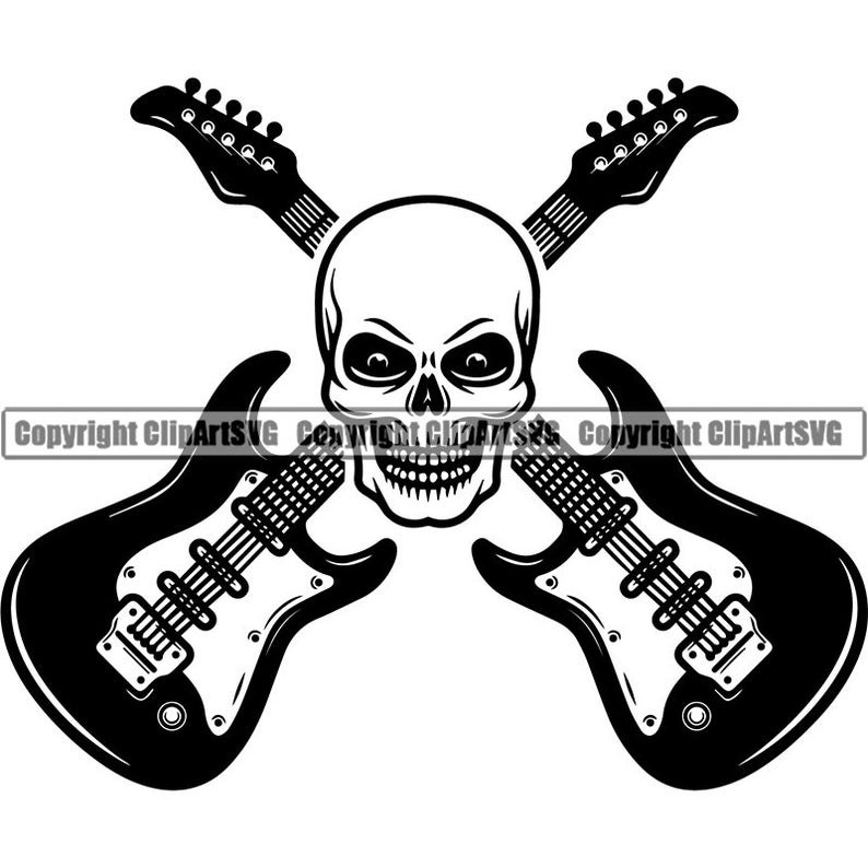 Logo electric electrical musical. Clipart guitar skull