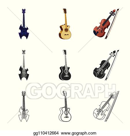 Clipart guitar tool. Eps illustration isolated object