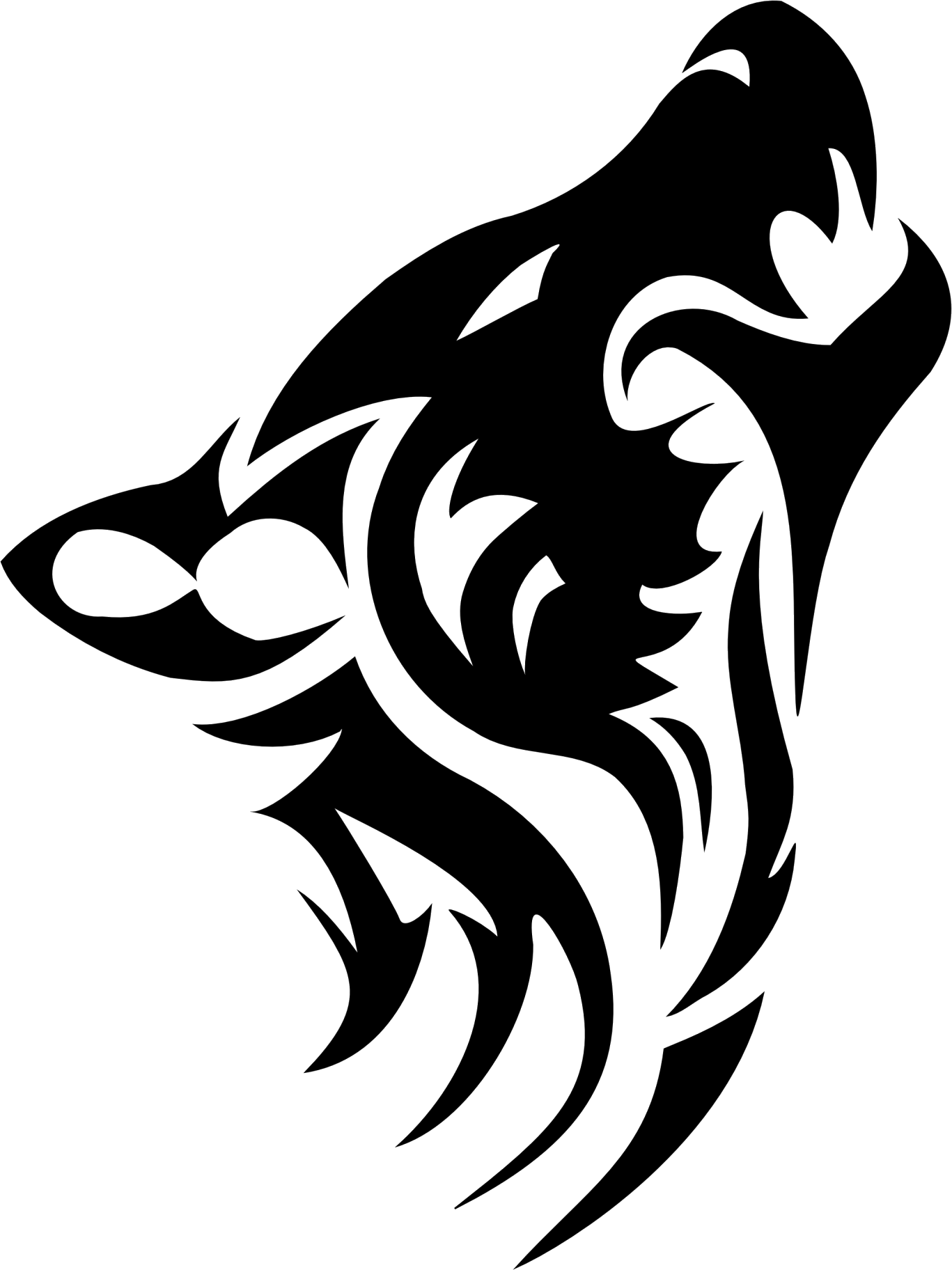 Wolf tattoo two isolated. Clipart guitar tribal