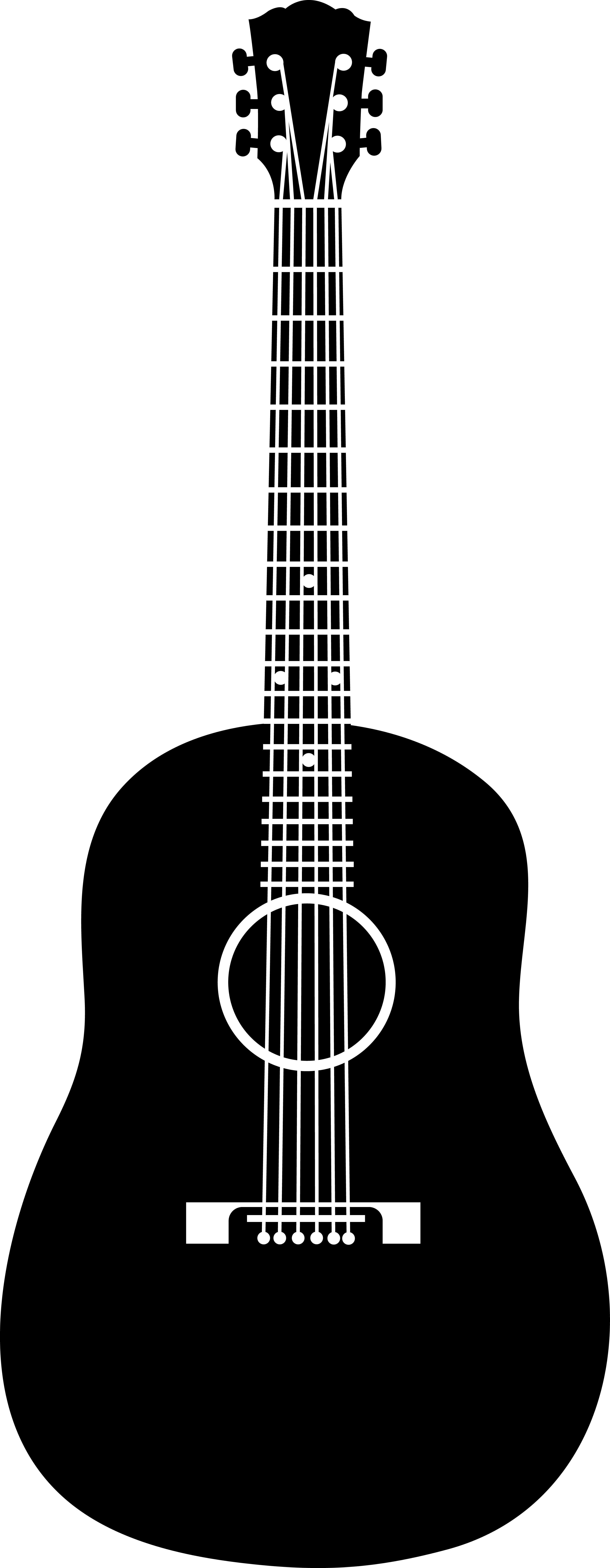 White clipart guitar. Acoustic black silhouette png