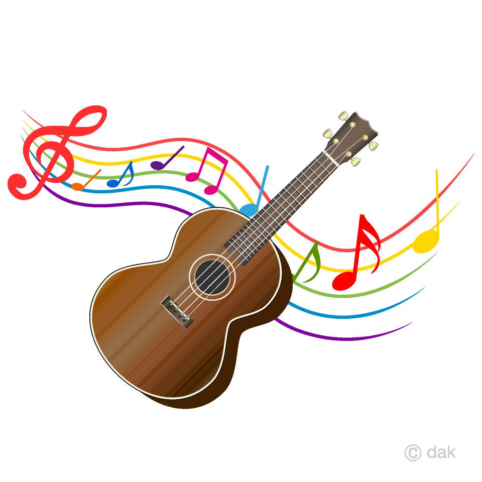 Clipart guitar ukelele. Ukulele and waving note