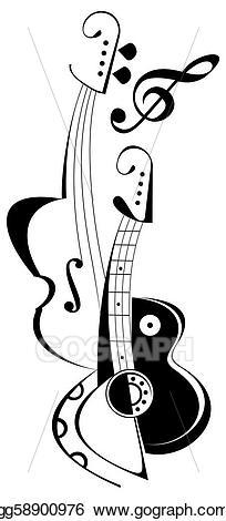 Stock illustration tattoo . Clipart guitar violin