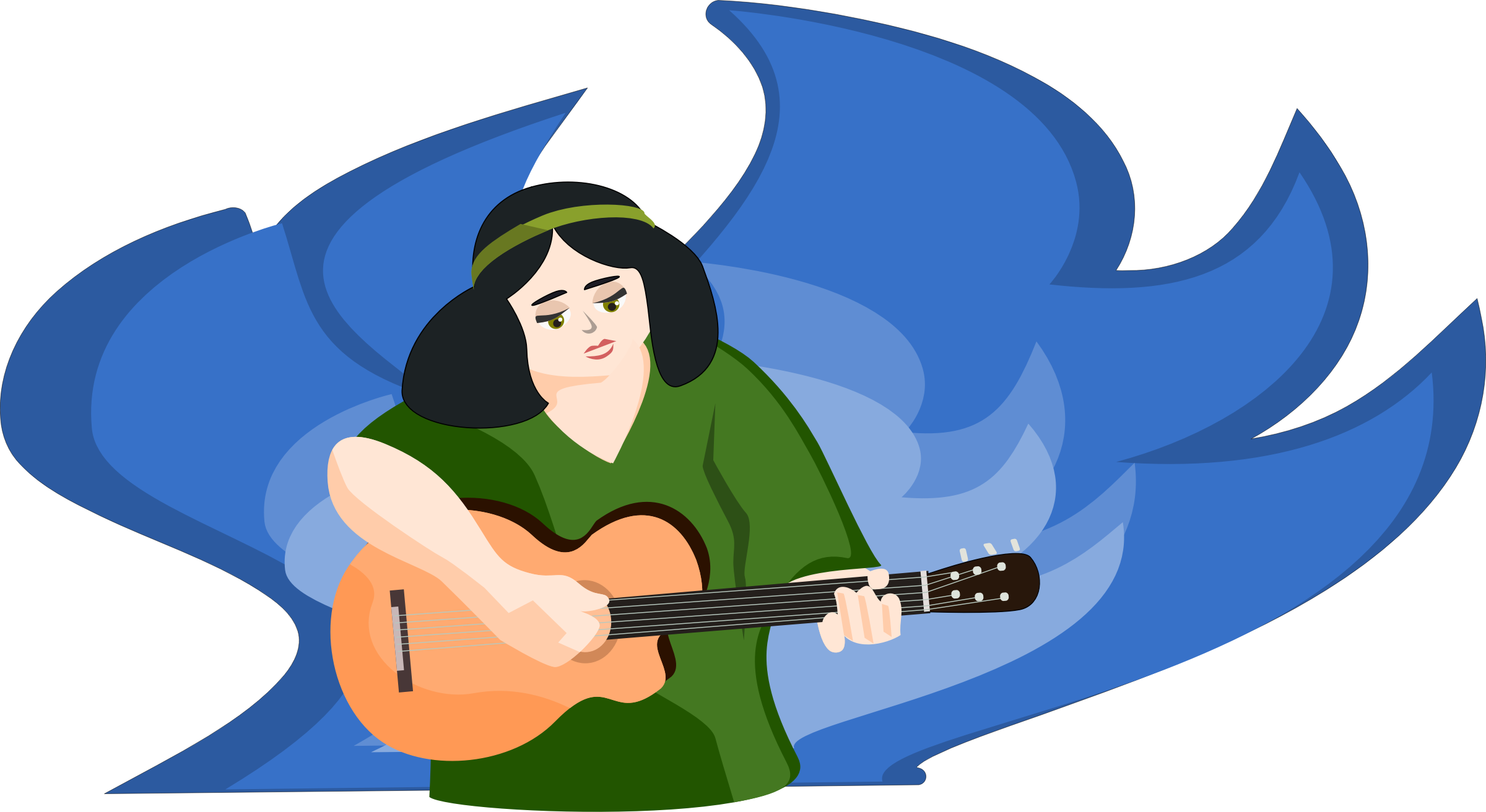 Clipart guitar woman. Bard playing gitar big