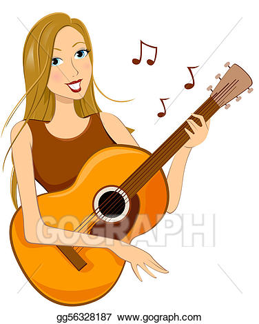 Stock illustration playing the. Clipart guitar woman