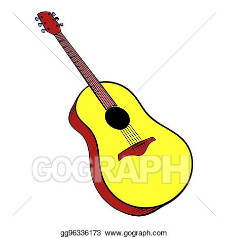 Acoustic icon cartoon stock. Clipart guitar wooden