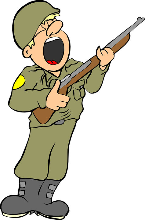 Collection of cartoon soldier. Clipart gun animated