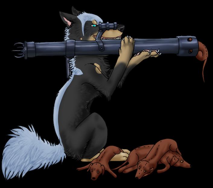 Guns clipart bazooka. Wendigowolfs pose by darkgreendracon