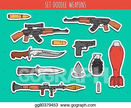 Eps vector big doodle. Clipart gun bomb