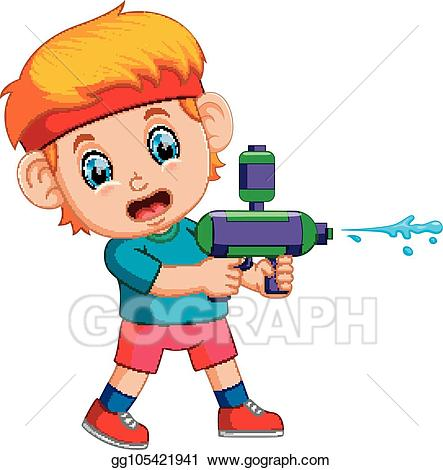 Vector art playing with. Clipart gun boy