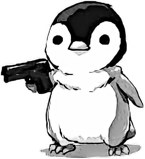 Penguin pinguin fofo sticker. Clipart gun cute