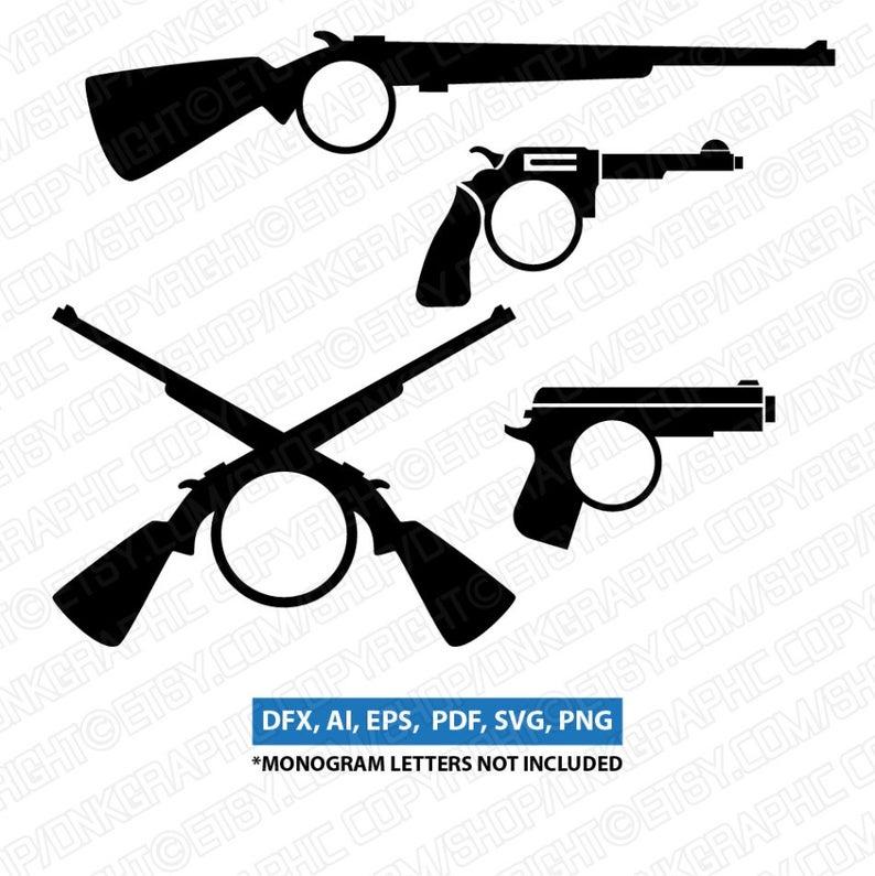 Glock shooting hunting monogram. Clipart gun frame