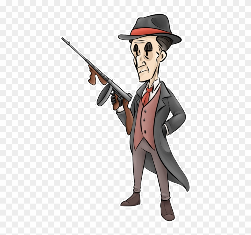 Cartoon shooting tommy painting. Clipart gun gangster