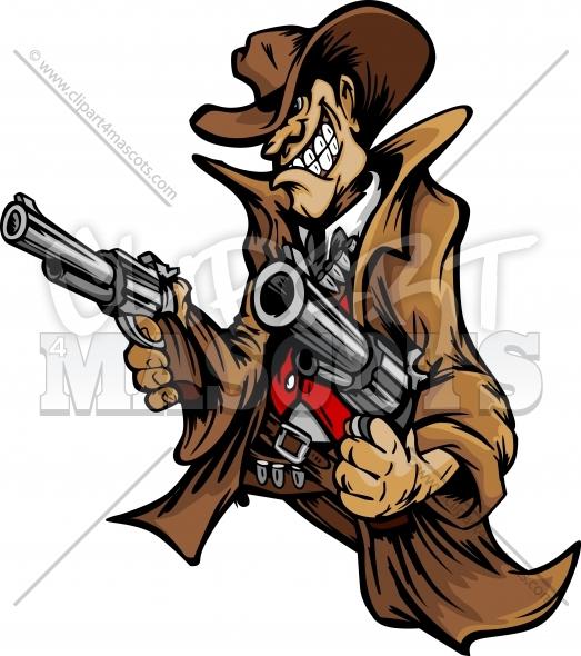 Clipart gun gunslinger. Cartoon graphic vector logo