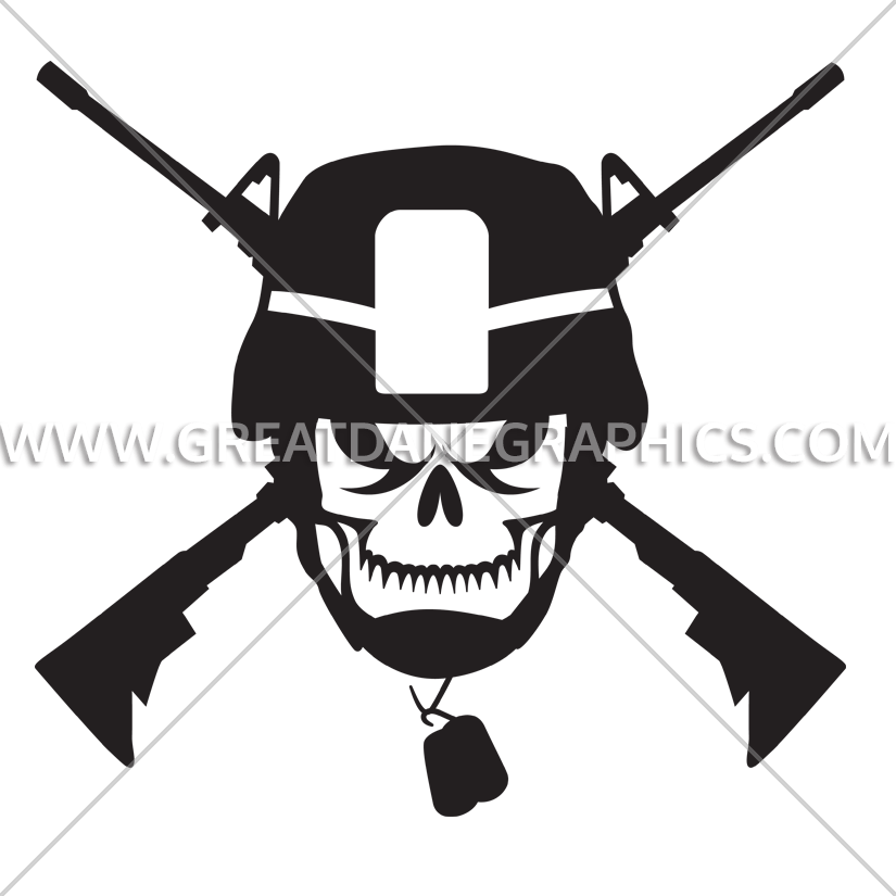 Skull army production ready. Clipart gun helmet