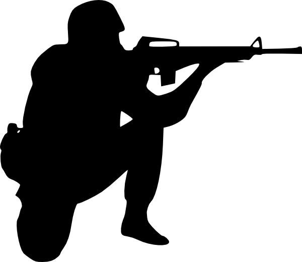 Army silhouette at getdrawings. Clipart gun helmet