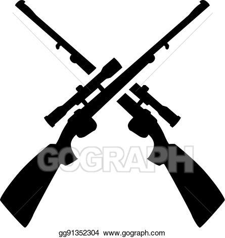 Clipart gun hunting gun. Vector rifle crossed illustration