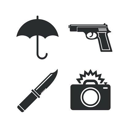 Umbrella and photo camera. Clipart gun knife