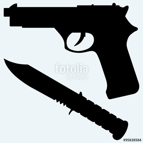 Clipart gun knife. Silhouette of a and