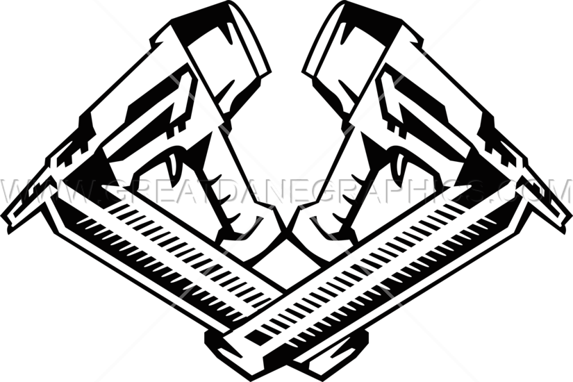 Nail production ready artwork. Clipart gun line art