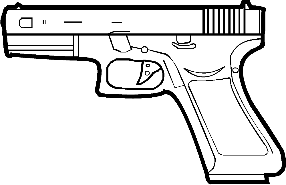 collection of pistol. Clipart gun line art