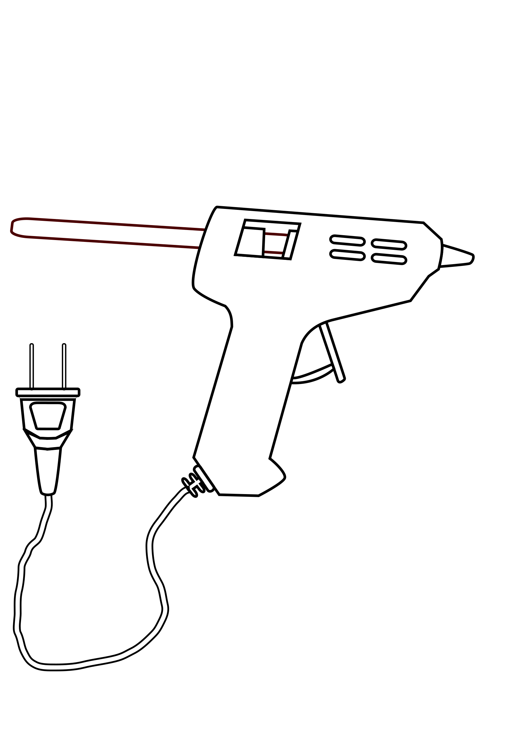Clipart gun line art. Tool hot glue drawing