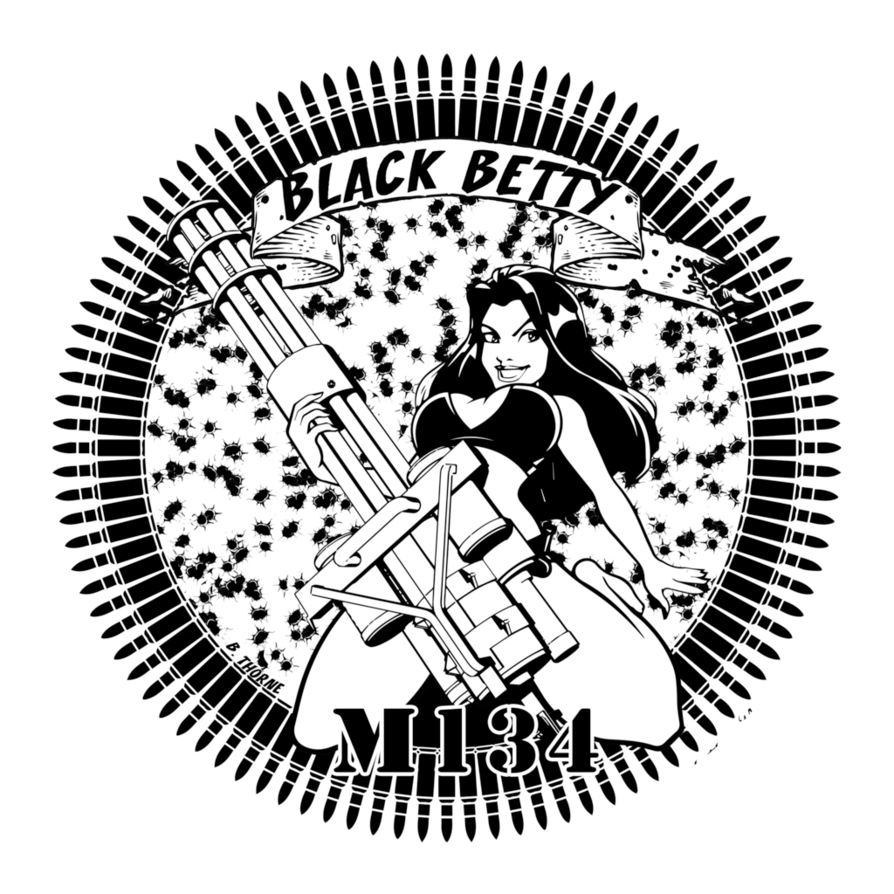 Black betty mini badge. Clipart gun minigun