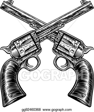 Eps illustration crossed pistol. Clipart gun old fashioned
