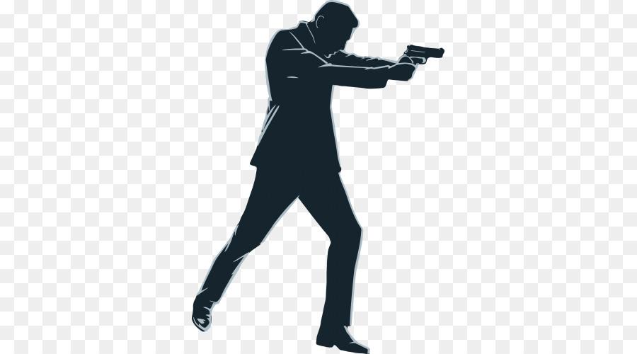 Cartoon silhouette font transparent. Clipart gun person