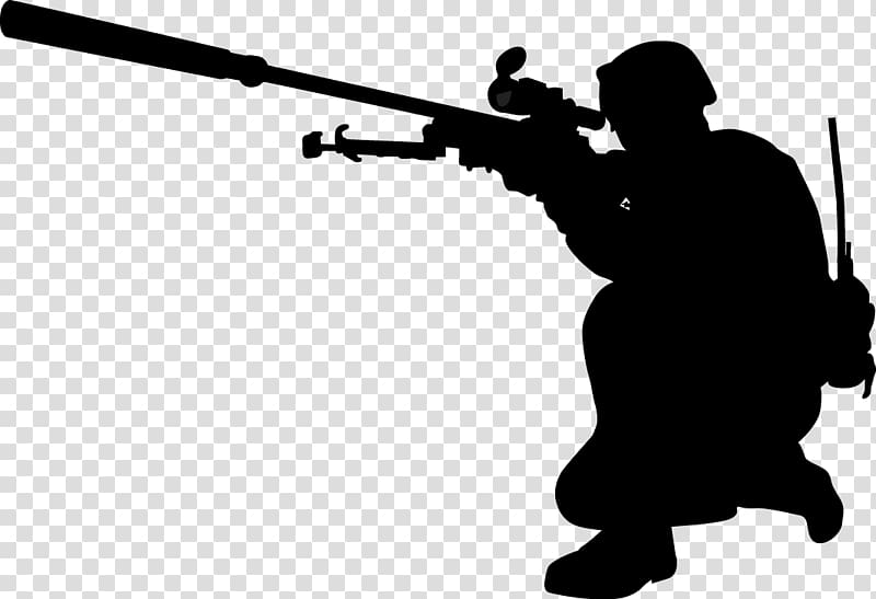 Silhouette of holding sniper. Clipart gun person