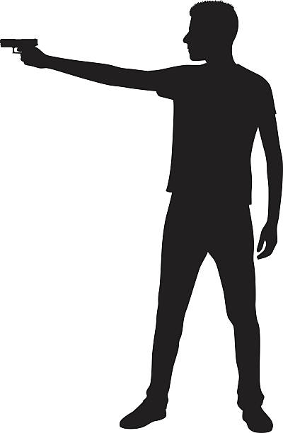 Clipart gun person. Black and white free