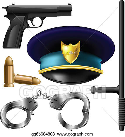 Eps illustration police items. Handcuffs clipart item