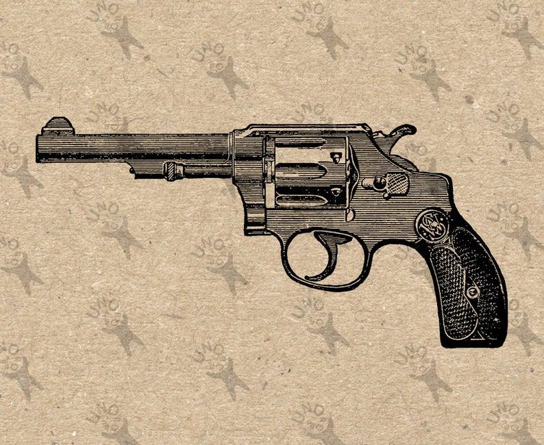 Clipart gun printable. Revolver vintage instant download