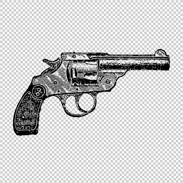 Graphic revolver image pistol. Clipart gun printable