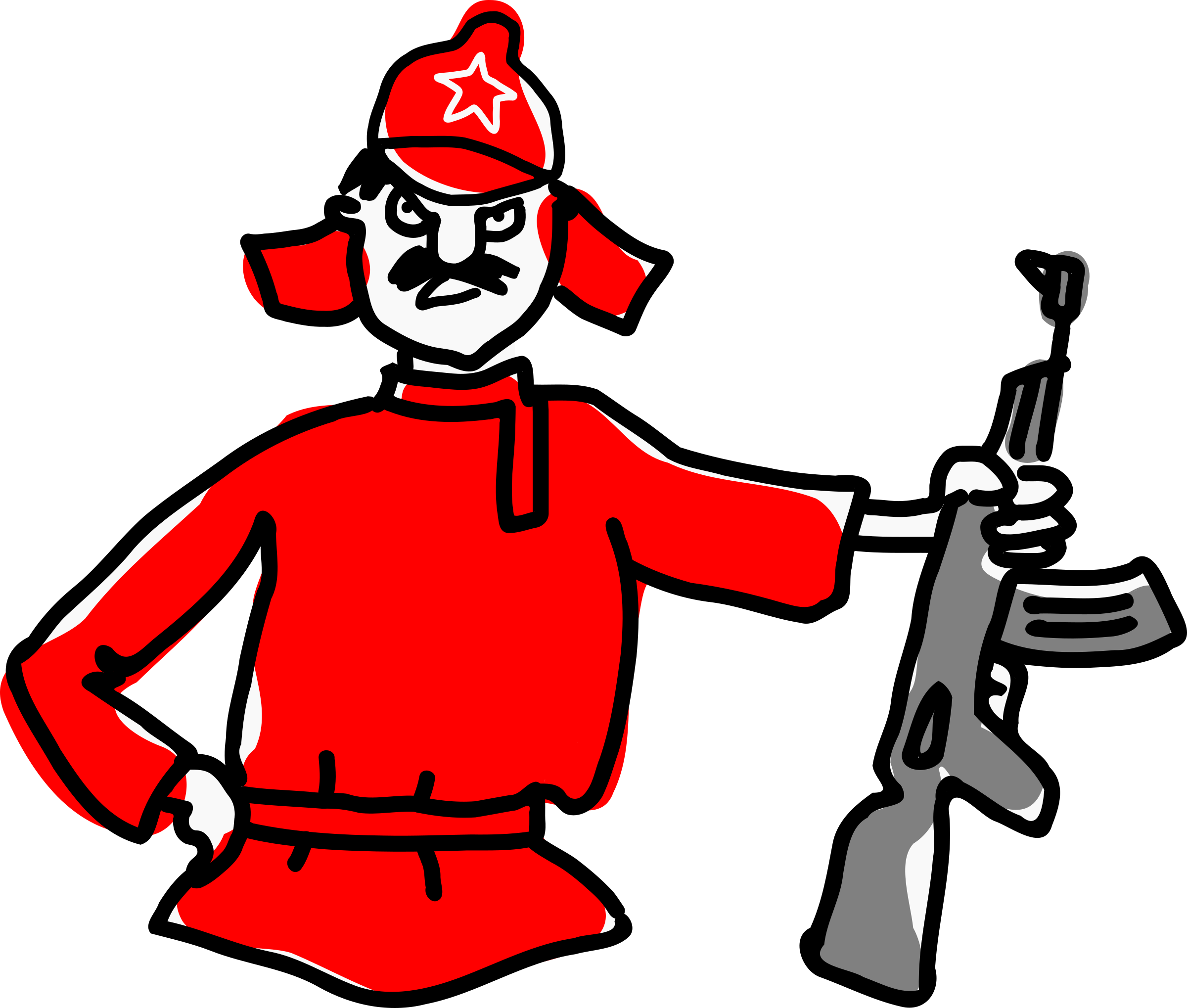 Army soldier big image. Clipart gun red