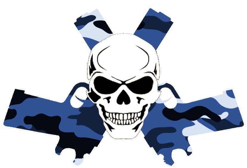 Skull in guns blue. Clipart gun red