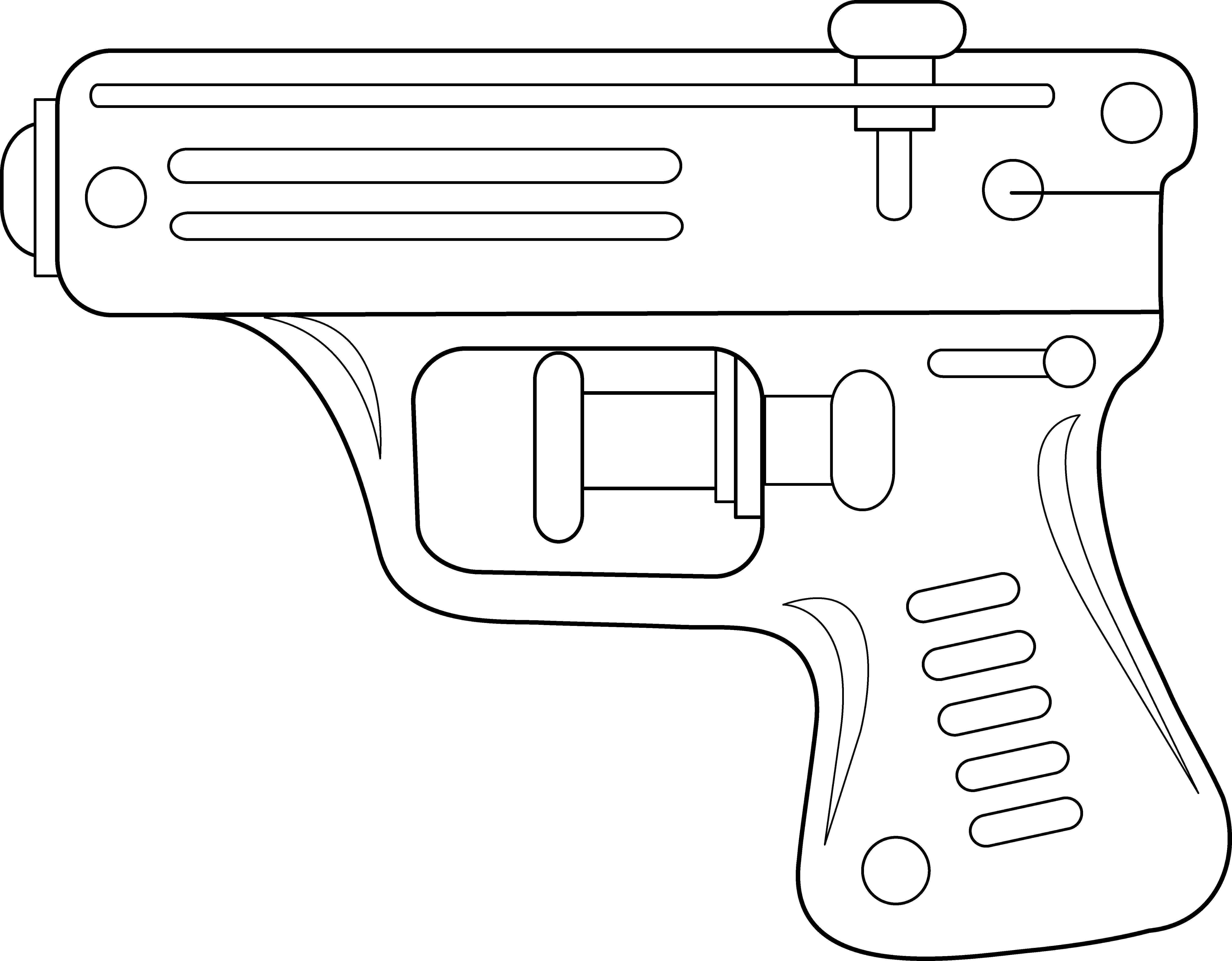 Cowboy clipart pistol. Squirt gun line art