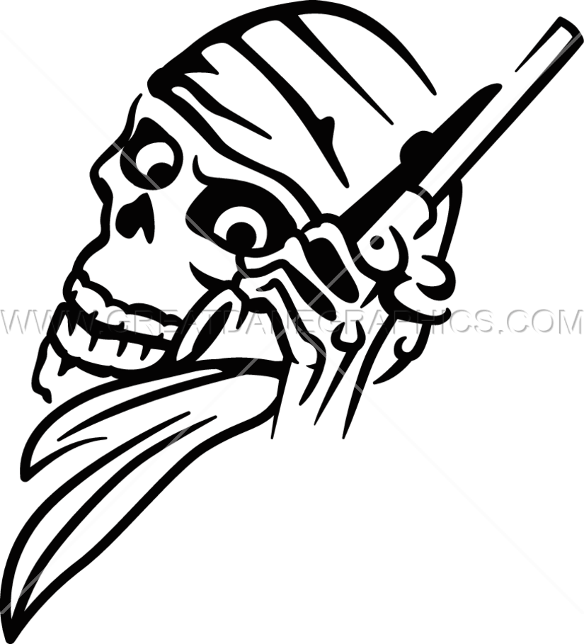Clipart gun skull. Confederate production ready artwork