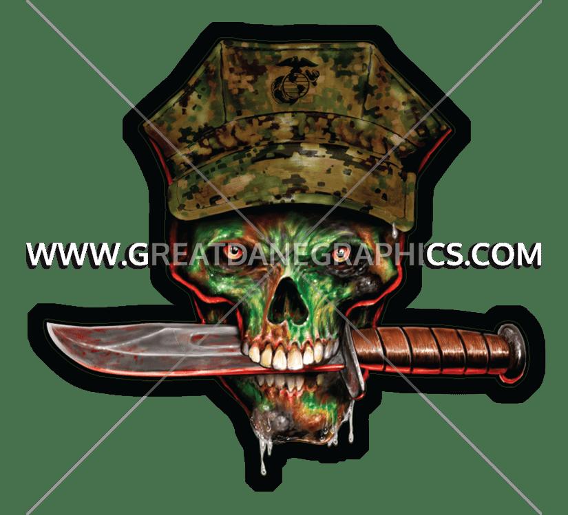 Marine production ready artwork. Clipart gun skull