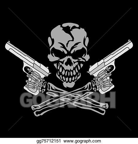 Eps illustration smiling with. Clipart gun skull